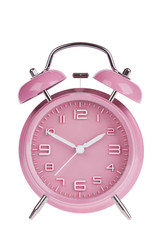 Pink alarm clock isolated on white