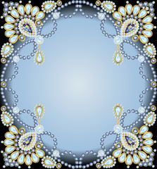 frame with ornaments made of precious stones and pearls