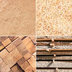 Verschiedene Holzprodukte, Rohstoffe, Werkstoff Holz