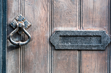 Wooden Door knocker and letter box close up