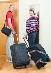 mature  couple together with luggage