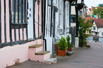 A row of colorful old town houses in Lavenham, England