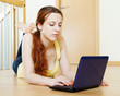 Young woman with netbook