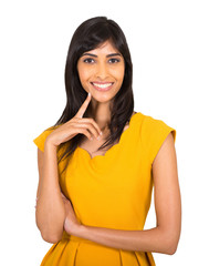 young indian woman on white background