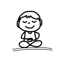 hand drawing cartoon meditation