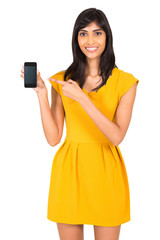 indian woman pointing at smart phone
