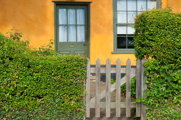 Front door of an English cottage, Suffolk, England