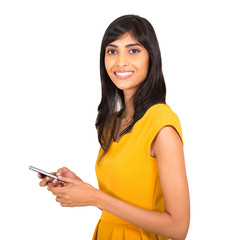 young indian woman using smart phone