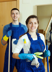 cleaners with equipment ready for work
