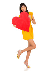 indian girl with heart shape