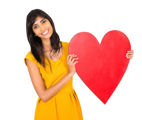 indian woman presenting heart shape