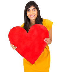 indian woman holding red heart symbol