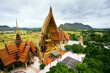 birds eyes view of Wat Tum Seua (tiger cove temple) Kanchanburi