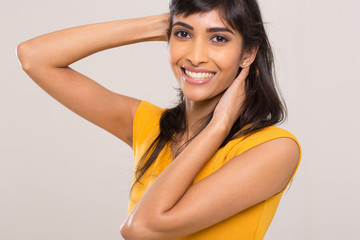 indian woman posing on plain background