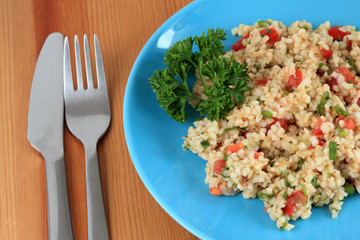 Traditional turkish salad with bulgur, tomatoes and parsley