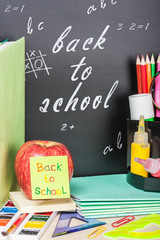 sticker on the apple and blackboard back to school