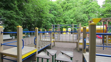 Playground, long obstacle course