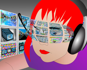 Girl and Internet interface
