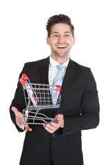 Businessman With Shopping Cart Model