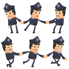 set of policeman character in different poses