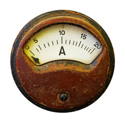 Old meter on white background