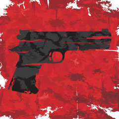 Vintage grunge gun graphic design. Vector