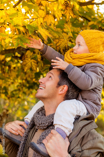 canvas print picture autumn father child