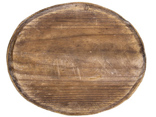 old oval wooden tablet isolated on white background