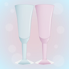 Set of glasses of blue and pink