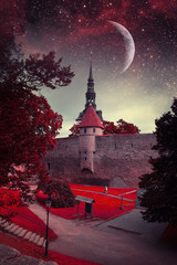 Tallinn mystical night. Elements of this image furnished by NASA