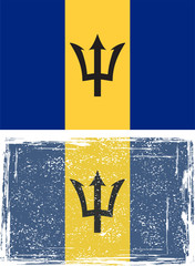 Barbados grunge flag. Vector illustration
