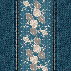Denim vertical background with white lace ribbon.