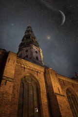 Riga at night. Elements of this image furnished by NASA