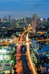 Bangkok cityscape with canal at night