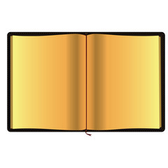Blank notebook with golden pages. Raster