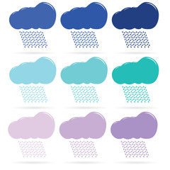 Icons of different color clouds and rain. Raster
