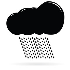 Icon black clouds and rain. Raster