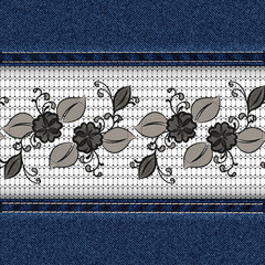 Denim horizontal background with black lace ribbon.