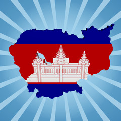 Cambodia map flag on blue sunburst illustration