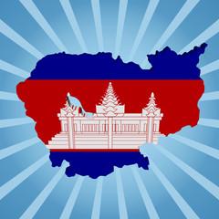 Cambodia map flag on blue sunburst illustration