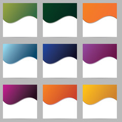 Set of blank forms of different colors. Raster