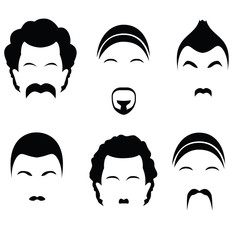 Icons of different hairstyles. Raster