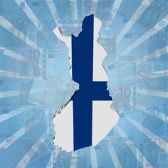Finland map flag on euros sunburst illustration