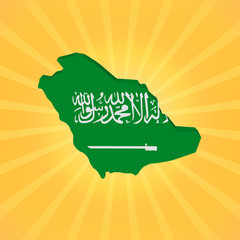 Saudi Arabia map flag on sunburst illustration