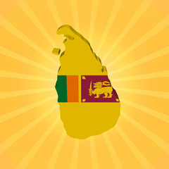 Sri Lanka map flag on sunburst illustration