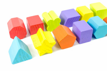 row of wooden toy blocks