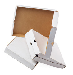 Used white cardboard boxes