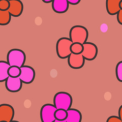 pattern with flowers on a beige background