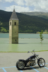 Italy, sunken church tower in  Lago di Resia