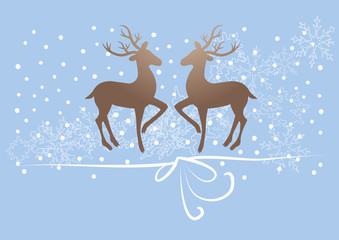 reindeer, deer on blue background, snow, gift ribbon